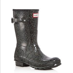 BRAND NEW WITH BOX black short sparkly hunter boot